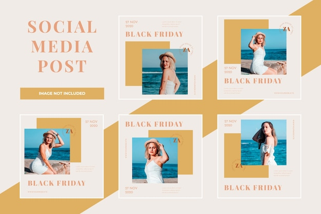 Black friday sale social media post set vorlage