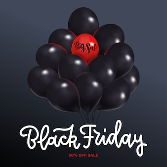 Black friday sale square mit dunkel glänzenden luftballons bündel isoliert. ein roter heliumballon mit big sale-schriftzug.