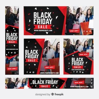 Black Friday Sale Web-Banner-Sammlung mit Mädchen einkaufen