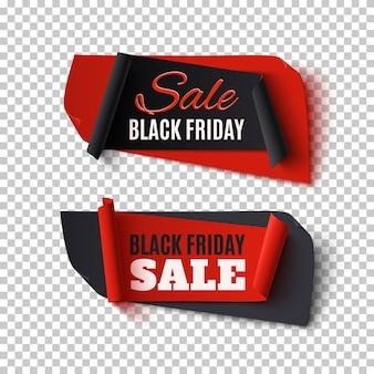 Black friday sale, zwei abstrakte banner auf transparentem hintergrund.