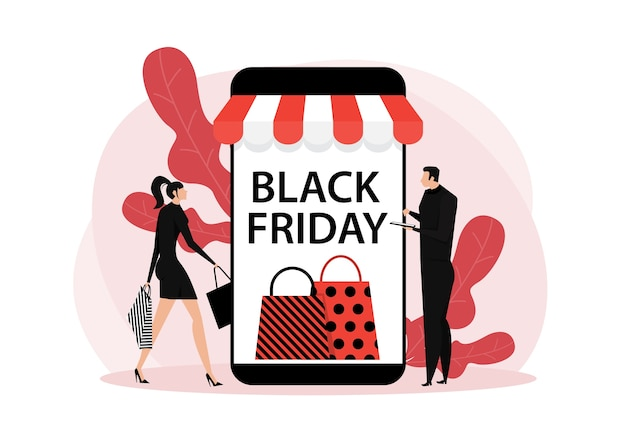 Black friday shop, online-service für frauen und männer, promo-kauf-marketing-illustration