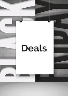 Black friday shopping angebote realistische vektor-banner-vorlage. weißes papierblatt, das an saiten hängt 3d-mock-up. verkaufswerbeplakat-layout mit schwarz-weiß-typografie