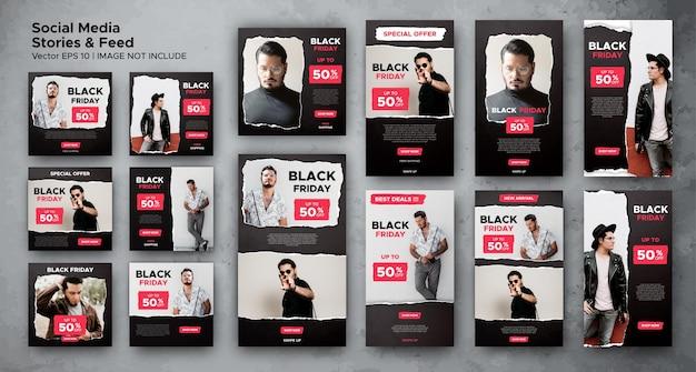 Black friday-social-media-post-feed und stories-bundle-vorlage