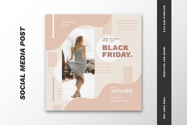 Black friday social media post quadratische banner vorlage