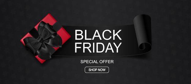 Black friday sonderangebot banner. hintergrund mit geschenkbox.