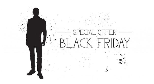 Black friday-sonderangebot-fahne mit grunge-gummimode-modell-männlichem schattenbild auf weiß