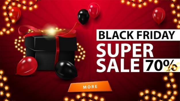 Black friday super sale, bis zu 70% rabatt, rotes horizontales rabattbanner mit schwarzer geschenkbox, umwickelt mit girlande, luftballons und girlandenrahmen
