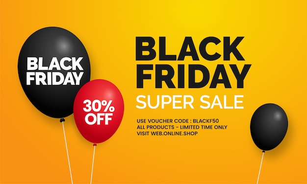 Black friday super sale einfache social media online-shop banner promotion mit ballon