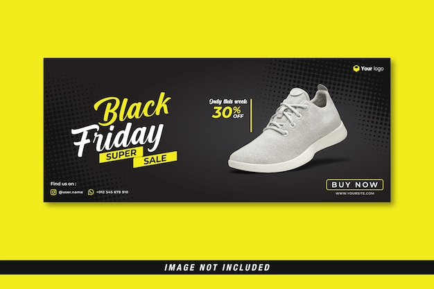 Black friday super sale facebook cover banner vorlage
