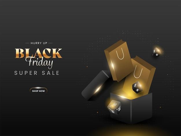 Black friday super sale poster design mit 3d-prozentwürfel, einkaufstüten und boxen auf schwarzem hintergrund.