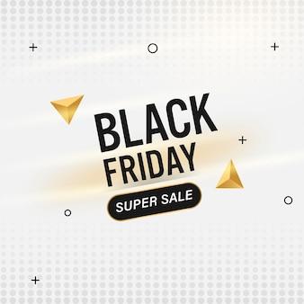 Black friday super sale poster design mit goldenem geometrischem 3d-dreieck auf weißem halbton-effekt-hintergrund.