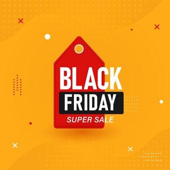 Black friday super sale poster design mit rotem tag auf orange gepunktetem hintergrund.