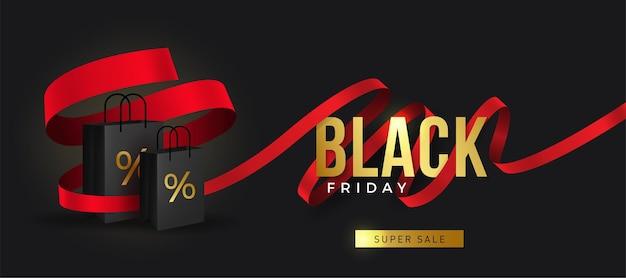 Black friday super sale realistische schwarze geschenkboxen geschenkbox voller dekorativer festlicher gegenstände