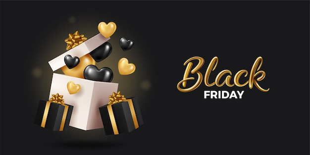 Black friday super sale. realistische schwarze geschenkboxen. offene geschenkbox voller dekorativer festgegenstände. goldener text.