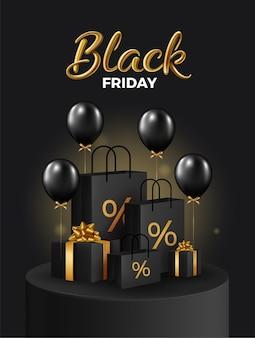 Black friday super sale realistische schwarze geschenkboxen und einkaufstasche auf schwarzem podium
