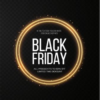 Black friday super sale realistischer goldener leuchtender runder rahmen rabattbanner für die feiertage