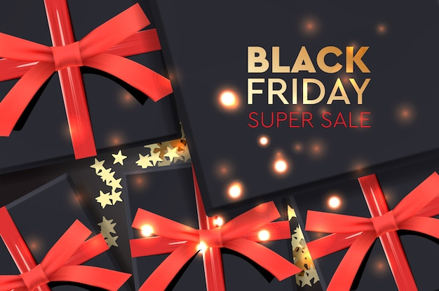 Black friday super sale. schwarze geschenkbox