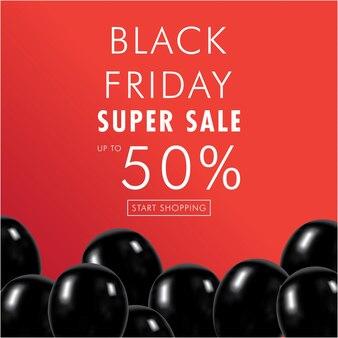 Black friday super verkauf mit rabatt und ballons