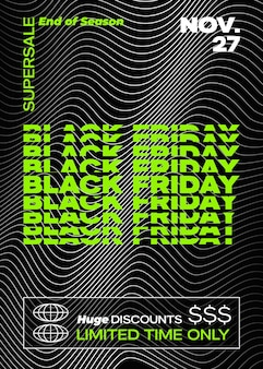 Black friday-typografie-banner, poster oder flayer-vorlage. abstrakte dekorative elemente in einem rahmen.