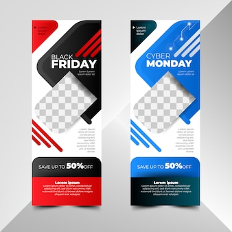 Black friday und cyber monday sale banner vorlagen