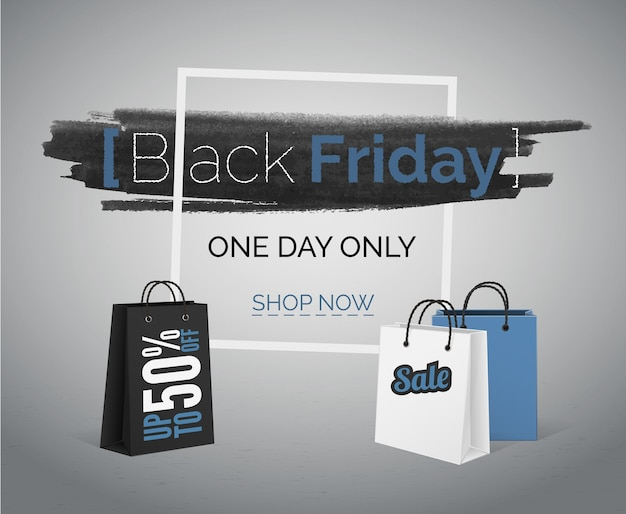 Black friday-vektorbanner mit taschen und rahmen. große rabatte auf technologie und gadgets mit blau-weißen verkaufsanzeigen.