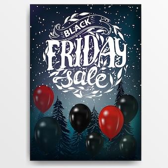 Black friday-verkauf. banner mit ballons und schriftzug