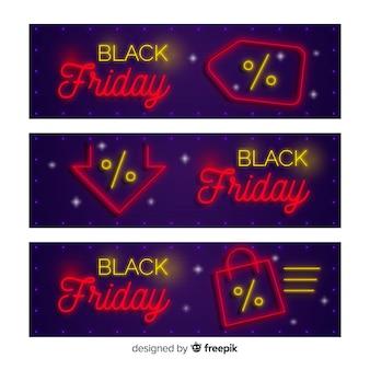 Black friday verkauf banner vorlage in neon-stil