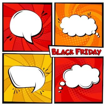 Black friday verkauf comic speech bubble template set