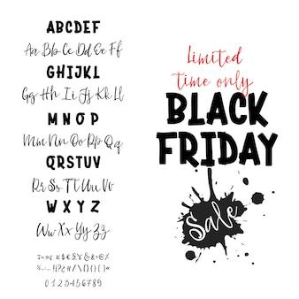 Black friday verkauf. handgezeichneter schriftsatz. typografie-alphabet