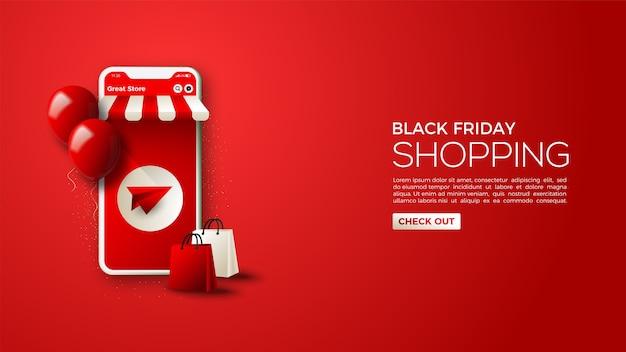 Black friday-verkauf mit einer illustration eines smartphones als online-shop