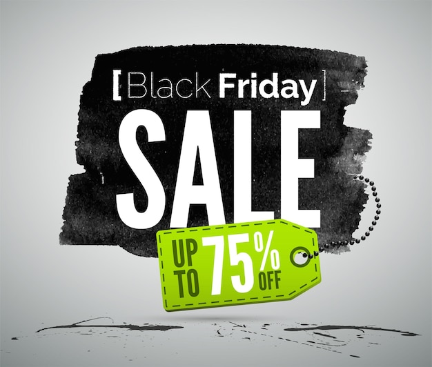 Black friday verkauf werbung vektor realistische etikettenvorlage. shopping-angebote werben für typografie auf tintenfarbener textur. shop-sonderangebote promotion-tag-design