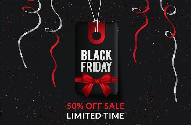 Black friday-verkaufs-fahnenschablone mit weihnachtspräsentkarton der dekorativen elemente.