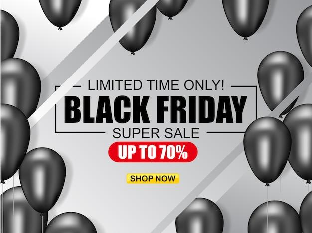 Black friday-verkaufs-plakatillustration mit glänzenden ballonen