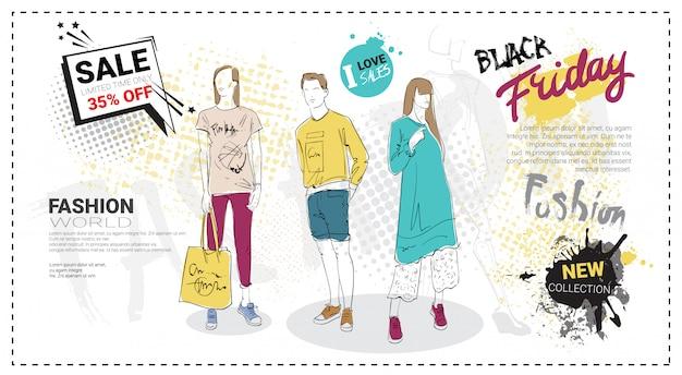 Black friday-verkaufs-schablone mit hand gezeichneten mode-modellen