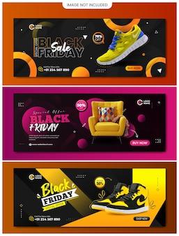 Black friday-verkaufs-website-banner-design mit drei verschiedenen farben und designs