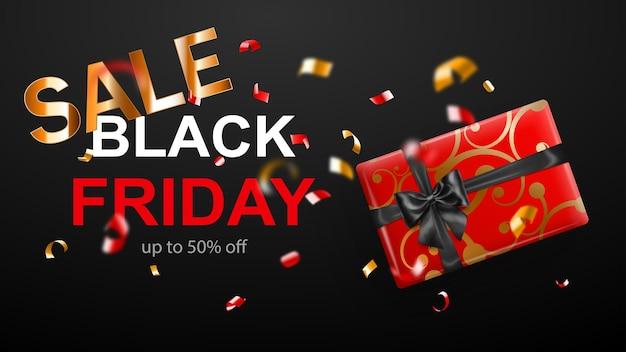 Black friday-verkaufsbanner. geschenkbox mit schleife und bändern. fliegende glänzende, verschwommene rote und gelbe konfetti und serpentinstücke auf dunklem hintergrund. vektorillustration für poster, flyer oder karten.