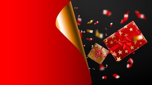 Black friday-verkaufsbanner. goldene gekräuselte papierecke und platz für die beschriftung. geschenkbox, verschwommene rote und gelbe serpentinstücke auf dunklem hintergrund. vektorillustration für poster, flyer, karten