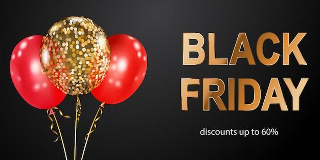 Black friday-verkaufsbanner mit roten und goldenen ballons auf dunklem hintergrund. vektorillustration für poster, flyer oder karten.