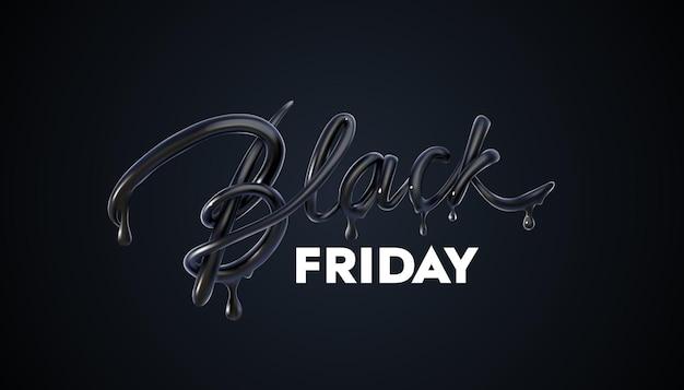 Black friday-verkaufsbanner mit tropfendem schwarzem schild mit 3d-schriftzug