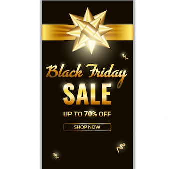 Black friday-verkaufsfahne. goldener bogen des luxusgoldhintergrundes