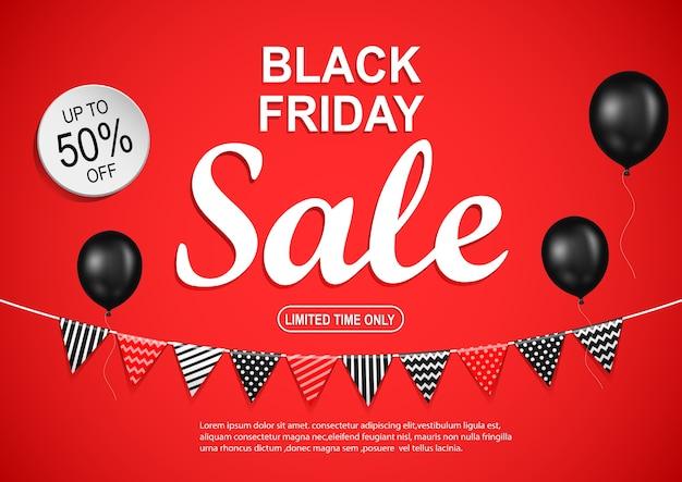 Black friday-verkaufsfahne mit schwarzem ballon auf rotem hintergrund.