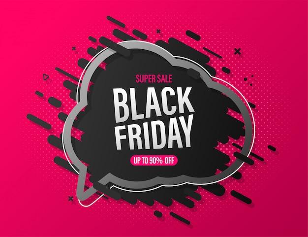 Black friday-verkaufsfahne mit spracheblase