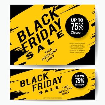 Black friday-verkaufsfahnenschablone mit gelbem tintenspritzen