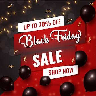Black friday-verkaufskarte mit glänzenden schwarzen ballonen auf schwarzem und rotem hintergrund