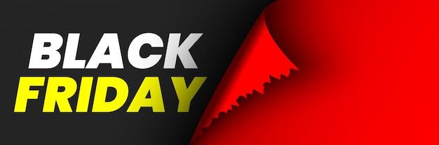 Black friday verkaufsplakat. rotes band mit gebogener kante auf schwarzem hintergrund. aufkleber. illustration.