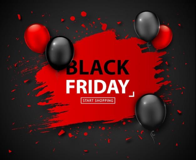 Black friday-verkaufsplakat. saisonrabattfahne mit den roten und schwarzen ballonen und rotem rahmen des schmutzes auf dunklem hintergrund. feiertagsdesignschablone für die werbung des einkaufens, räumungsverkauf am erntedankfest