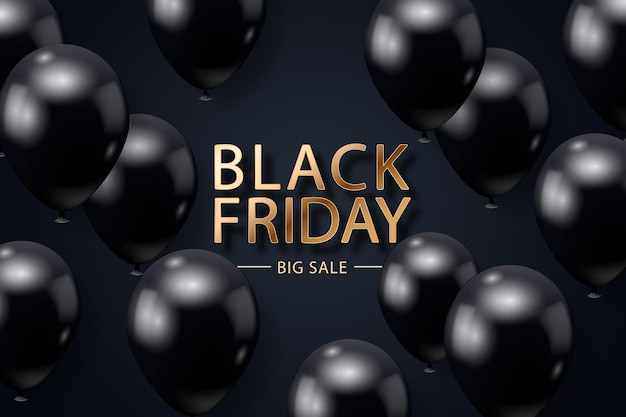 Black friday-verkaufsposter mit realistischen luftballons auf schwarzem hintergrund
