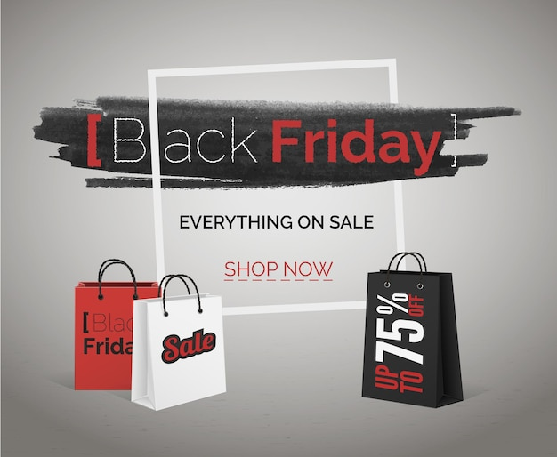 Black friday-verkaufsvektorbanner mit rabatten für web oder werbung. aquarell im rahmen mit roten und weißen taschen auf betonbodenplakat