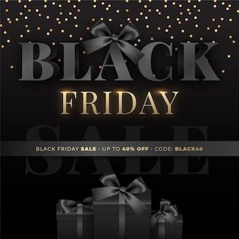 Black friday verkaufsvorlage mit schwarzen geschenkboxen