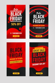 Black friday vertikales banner, social media pack collection, instagram story template